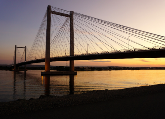 view of the cable bridge in pasco, washington